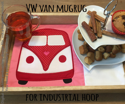 VW Van MUGRUG - ITH Embroidery Design - industrial hoop, Machine Embroidery Design File, digital download millymellydesigns