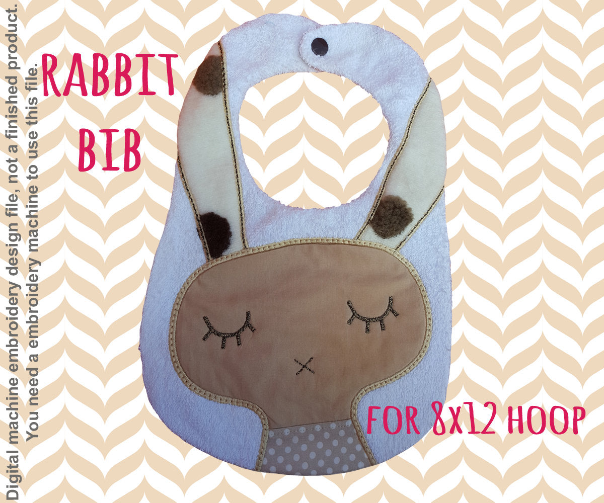 RABBIT bib - ITH embroidery design - 8x12 hoop - Machine Embroidery Design File, digital download millymellydesigns