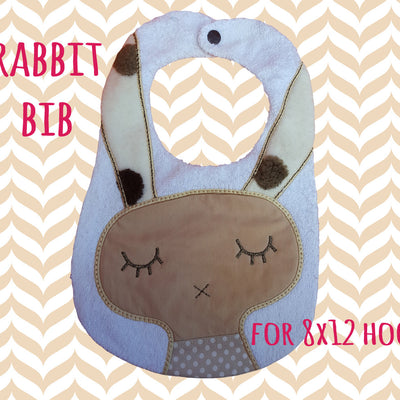 RABBIT bib set- ITH embroidery design - 7x12 & 8x12 hoop - Machine Embroidery Design File, digital download millymellydesigns