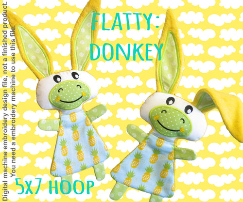 Cute DONKEY soft toy 5x7 hoop, Baby Toy Blanket comfy, toy, stofie, ITH, In The Hoop, Machine Embroidery Design File, digital download millymellydesigns