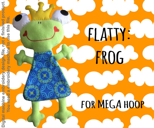 Cute FROG soft toy Mega hoop, ITH embroidery design, digital download millymellydesigns
