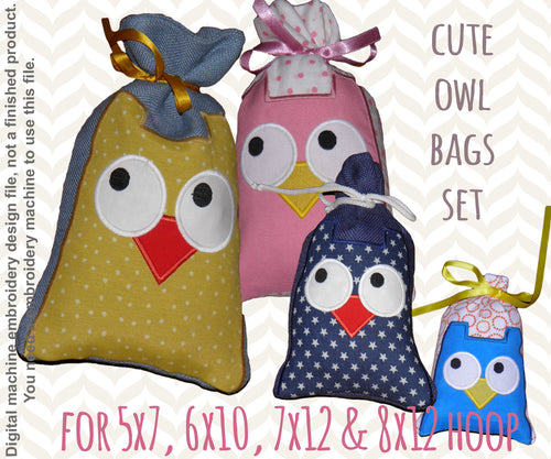 SET - GIFT BAGS - OWL - Machine Embroidery Design File, digital download millymellydesigns