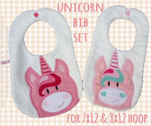 7x12 and 8x12 hoop - BIB SET- UNICORN - Machine Embroidery Design File, digital download millymellydesigns