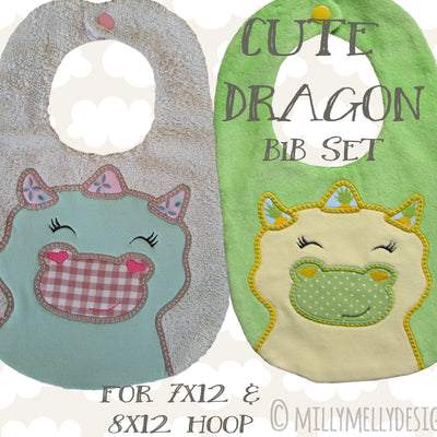 CUTE DRAGON bib design version 2 - ITH machine embroidery design millymellydesigns