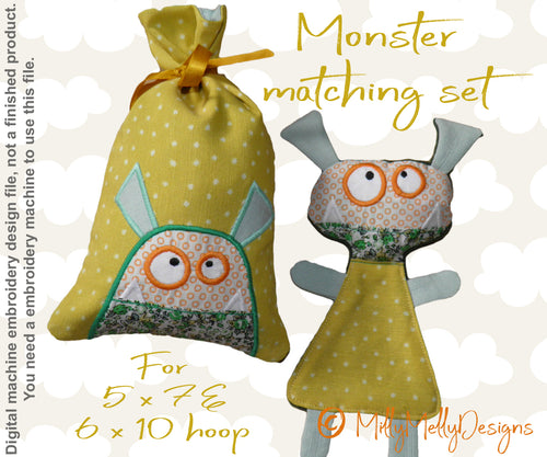 Monster matching set 2 - Machine Embroidery Design Files, digital download millymellydesigns