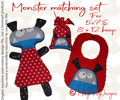 Monster matching set 1 -  Machine Embroidery Design Files, digital download millymellydesigns
