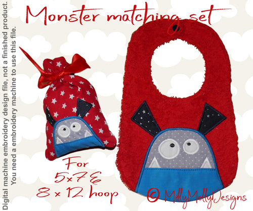 Monster matching set 3 - Machine Embroidery Design Files, digital download millymellydesigns