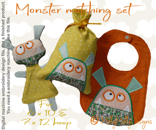 Monster matching set 5 - Machine Embroidery Design Files, digital download millymellydesigns