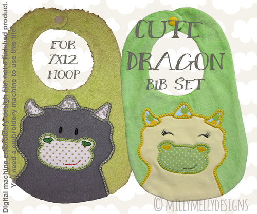 CUTE DRAGON bib design SET - ITH machine embroidery design millymellydesigns