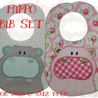 HIPPO bib design - ITH machine embroidery design millymellydesigns