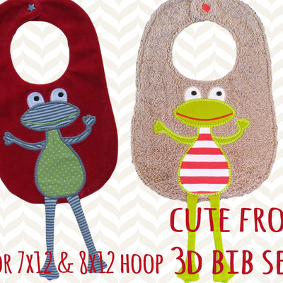 The cutest frog bib - In The Hoop - Machine Embroidery Design File, digital download, ITH millymellydesigns