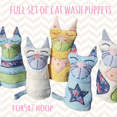 Cat wash puppet set for 5x7 hoop - Wash Puppet - CAT - ITH - In The Hoop - Machine Embroidery Design File, digital download millymellydesigns