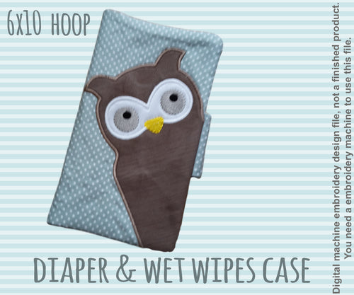 Diaper and wet tissue case - 6x10 hoop - ITH - In The Hoop - Machine Embroidery Design File, digital download millymellydesigns