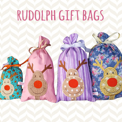6x10 hoop - GIFT BAG - RUDOLPH - Machine Embroidery Design File, digital download millymellydesigns