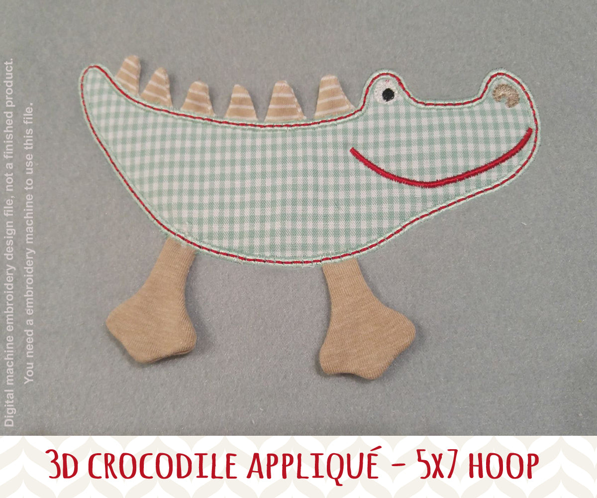 Crocodile 3d applique design - in the hoop - Machine Embroidery Design File, digital download, ITH millymellydesigns