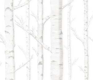White Birch Grove Tree Drapery One Curtain Panel - Cotton and Blackout lining available - lined white birch tree curtain panel rustic woods home decor
