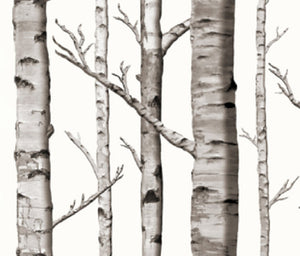 White Birch Tree Drapery Curtain One Panel - Cotton and Blackout lining available - Lined white birch tree curtain panel rustic woods home decor