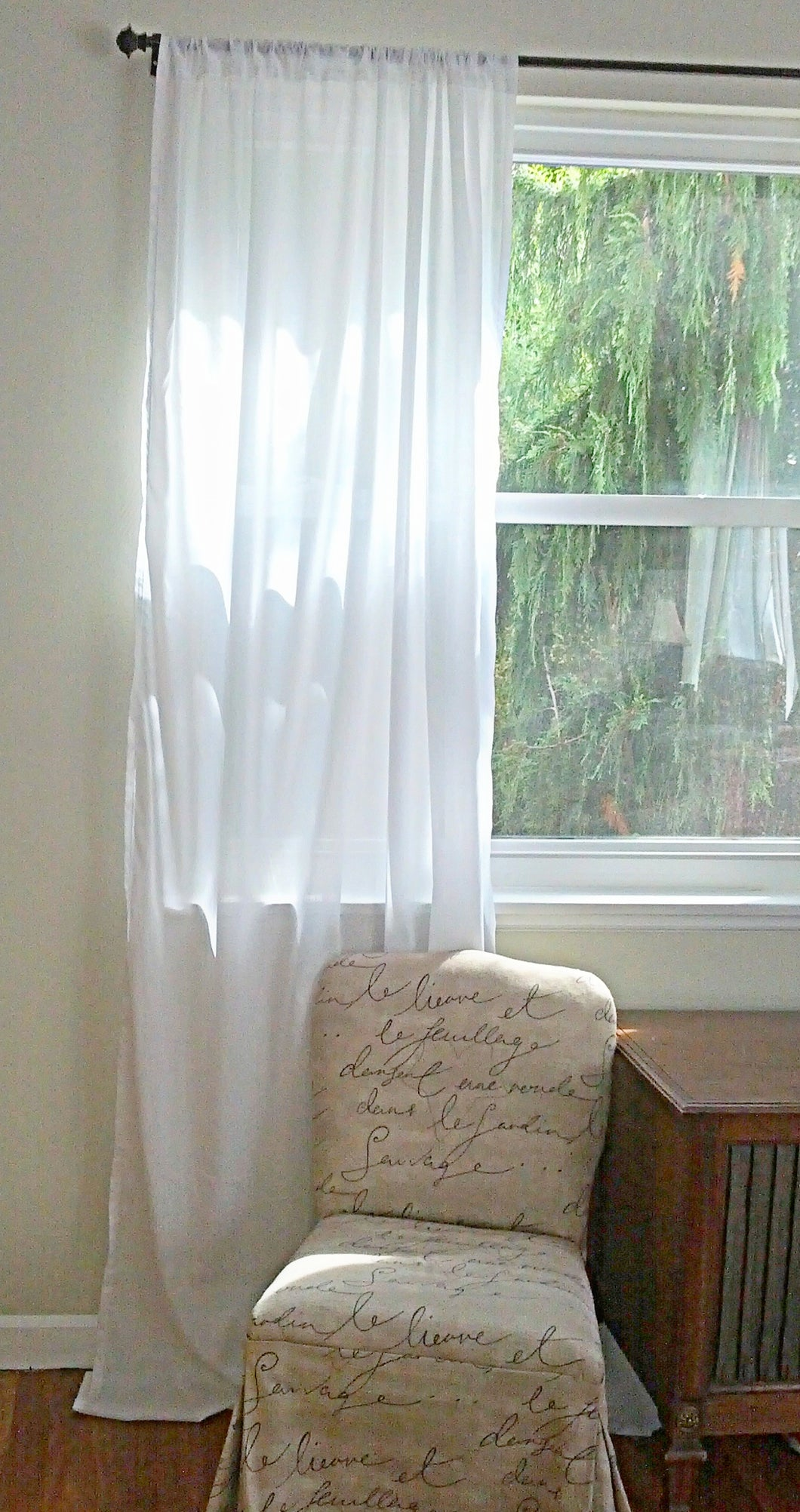 White Cotton Voile Sheer Curtain Panel Or Valance. Handmade