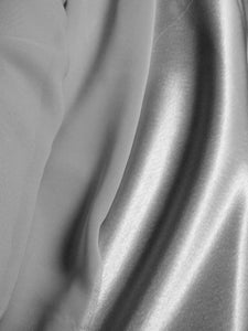 One Silver Satin Curtain Panel with Grey Chiffon Overlay - Custom Drapery Order Elegant Bedroom Drapes Silky Soft Pretty Window Treatment