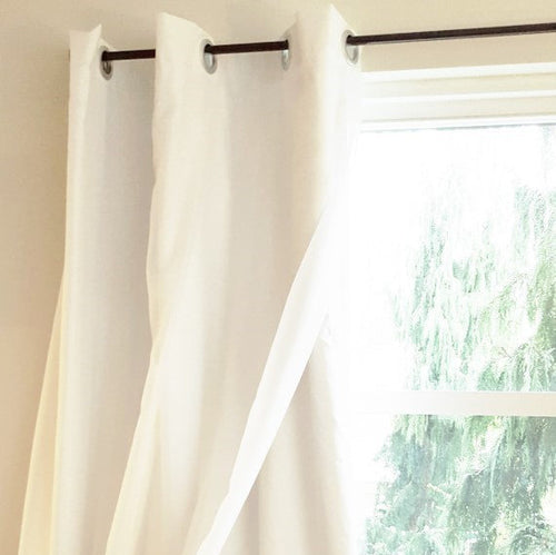 White Blackout with Voile Overlay Grommet Top One Curtain Panel- Custom Order Drapery Bedroom Drapes Noise Reducing Light Blocking Curtains