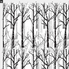 "Organic Cotton ""Birch Trees"" One Curtain Panel - Cotton and Blackout lining available - Nature home decor, Outdoorsy curtains, Lodge, Cottage, Wilderness, black white grey birches"