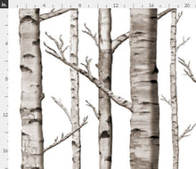 "Organic Cotton ""birch tree forest"" One Curtain Panel - Cotton and Blackout lining available - Nature home decor, Outdoorsy curtains, Lodge, Cottage, white birch, wilderness, trees"