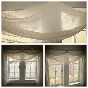 Off-White Crushed Voile Sheer Window One Panel - Wide Custom Order Curtains - Handmade Home Decor Sheers - Long Scarf Drapery Panels