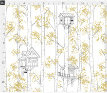 "Organic Cotton ""Treehouses"" One Curtain Panel - Cotton and Blackout lining available - Home Decor for Kids, fun curtains, trees, houses, tree, leaves, birches, birch, white, gold"