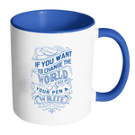Change the World (Blue) Accent Mug 11oz (7 colors)-Drinkware-LutheranPub.com