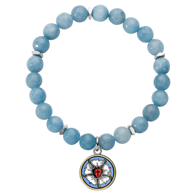Luther's Rose Charm and Gemstone Bracelet-Bracelets-LutheranPub.com