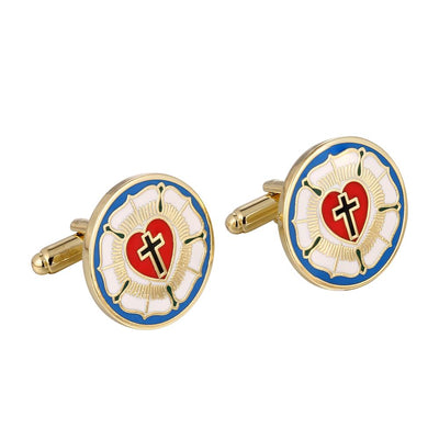 Luther's Rose Enamel Cuff Links-Cufflinks-LutheranPub.com