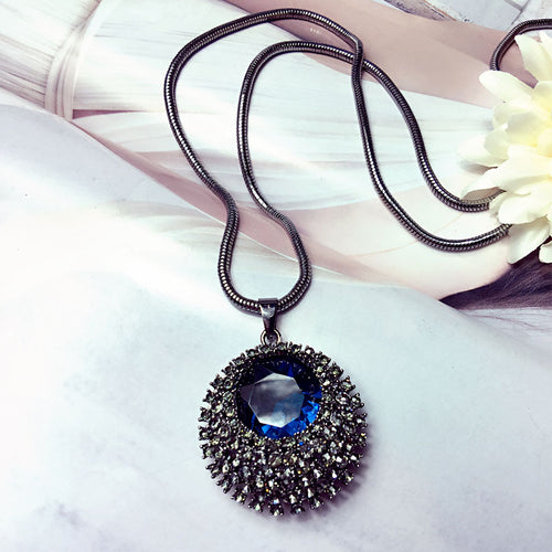Blue Crystal Long Necklace
