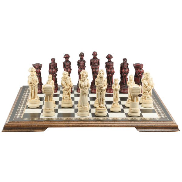 Burgundy & Cream Battle of Trafalgar Chess Set