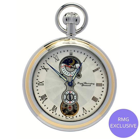 Dual Finish Moondial Pocket Watch