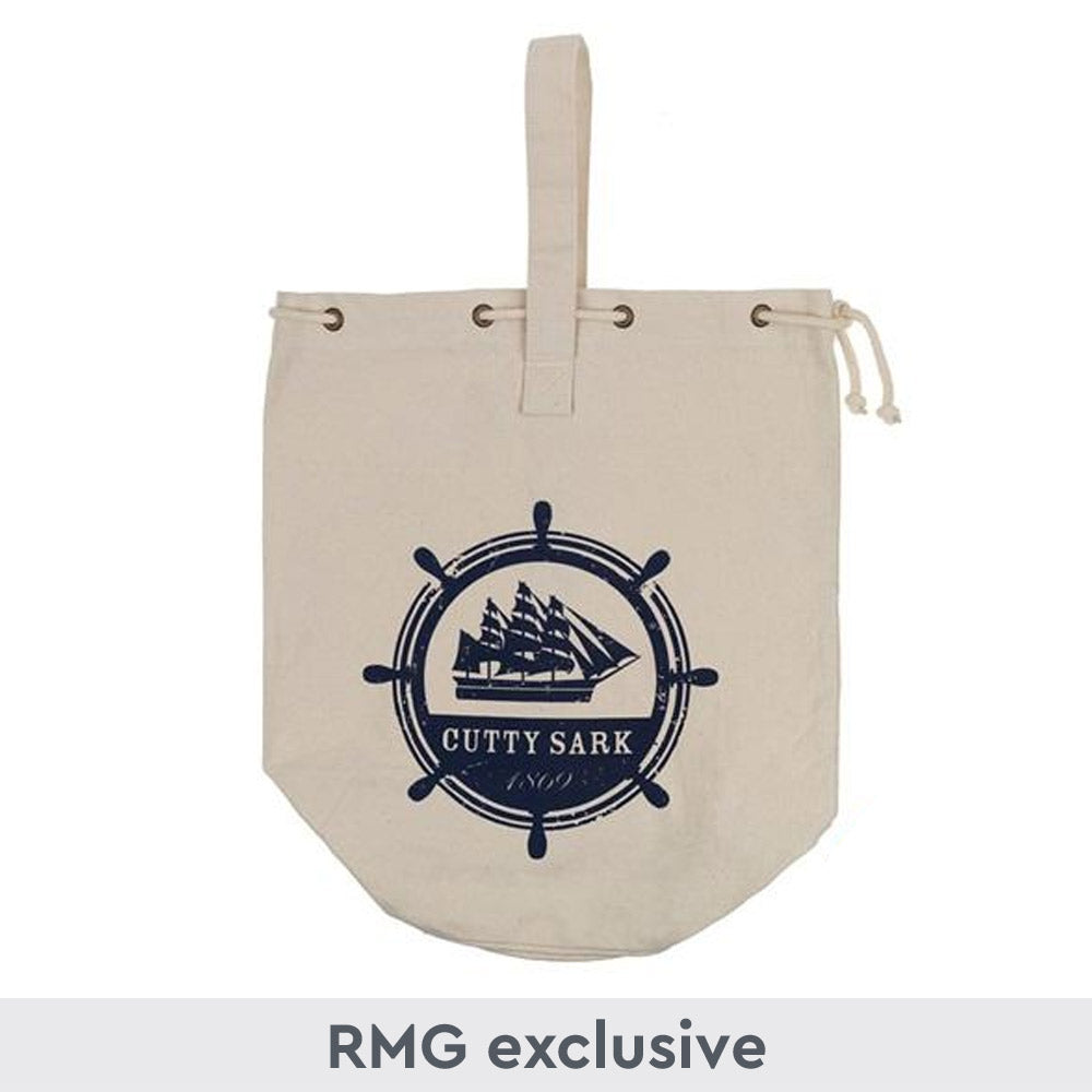 Canvas duffle bag with navy blue ship wheel design