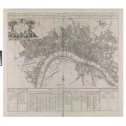 1720 Map Of London Folded Print