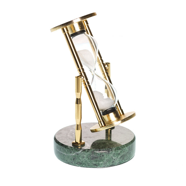 Brass Log Timer With Marble Base