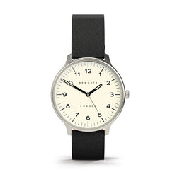 Cream Dial Blip Watch - Black Leather Strap