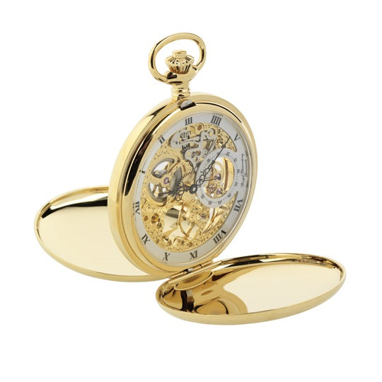 Gold Twin Lidded Full Skeleton Pocket Watch