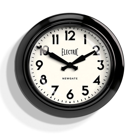 Large Electric Wall Clock Black