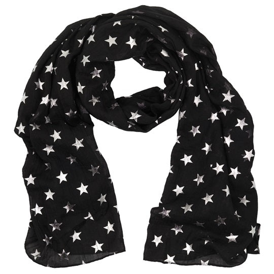 Black Glitter Star Scarf