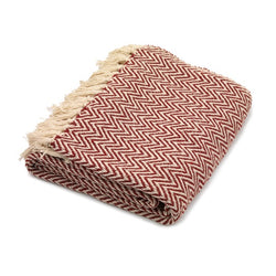 Red Geometric Cotton Herringbone Throw