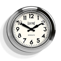 Large Electric Wall Clock Chrome