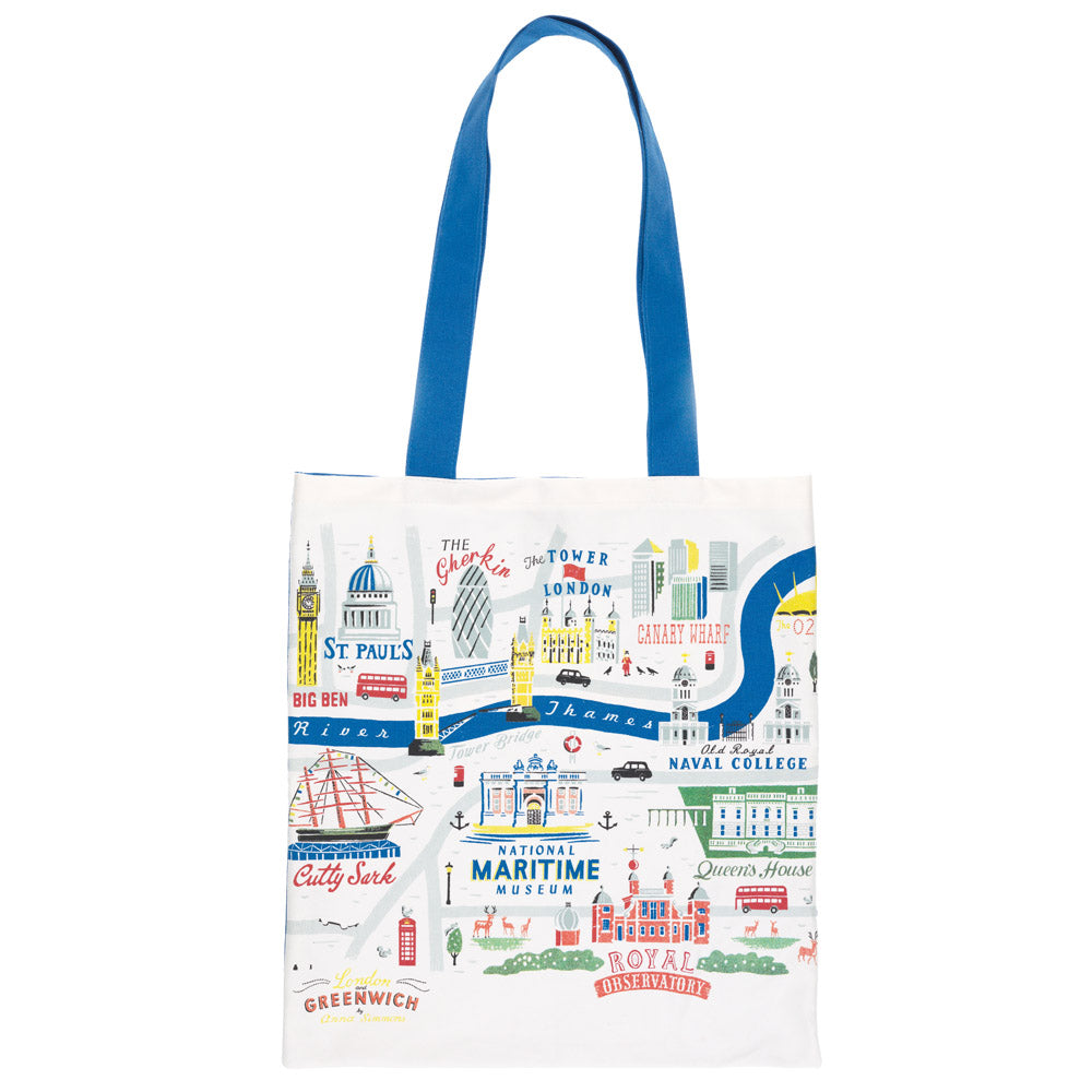 Colourful London & Greenwich Map Tote Bag