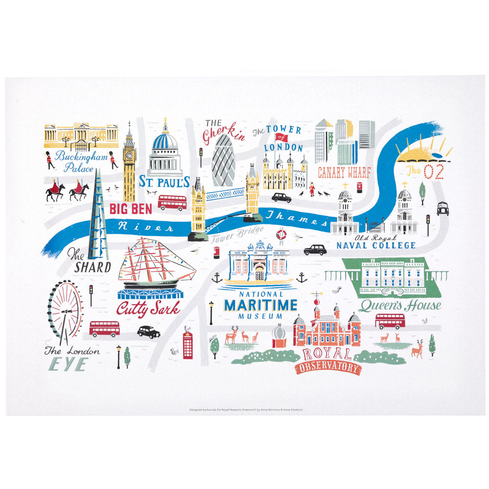 London Landmarks Map.London Greenwich Map Print