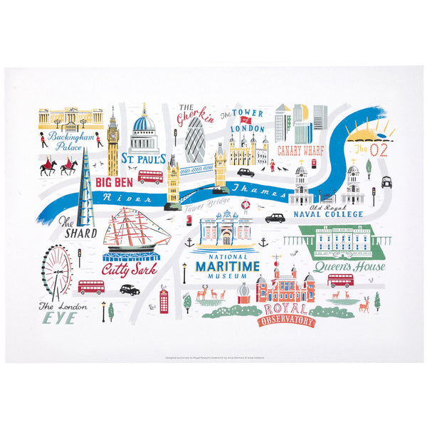 London & Greenwich Map Print