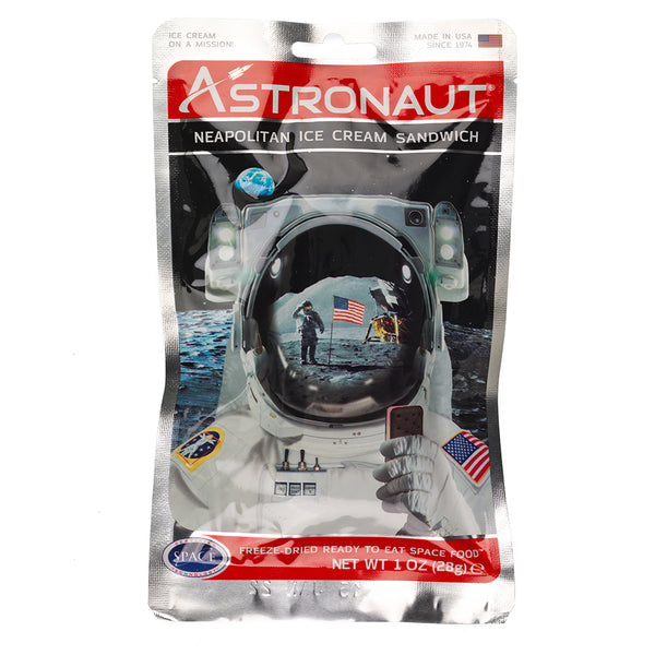 Astronaut Neapolitan Ice Cream Sandwich packet showing image of NASA Asronaut