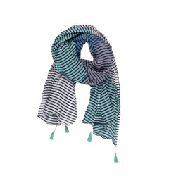 Blue Stripe Cotton Scarf with Tassels