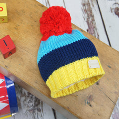 Kids Bright Stripe Chunky Knit Bobble Hat