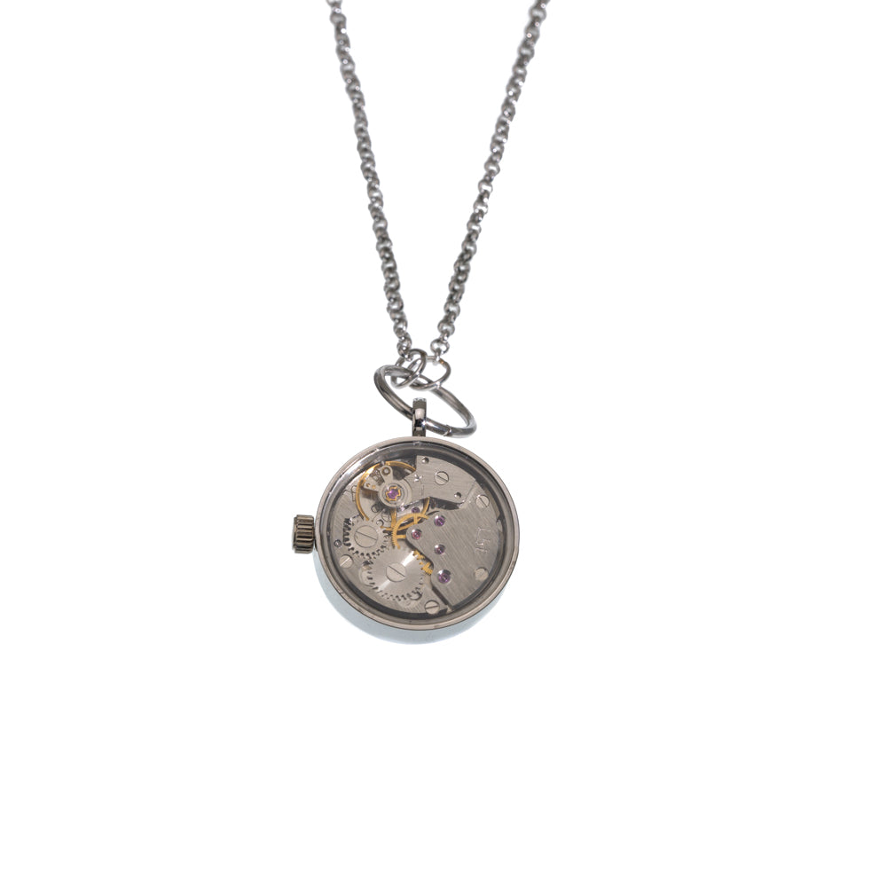 Wind Up Stainless Steel Watch Necklace